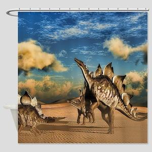 Stegosaurus dinosaur in the desert Shower Curtain