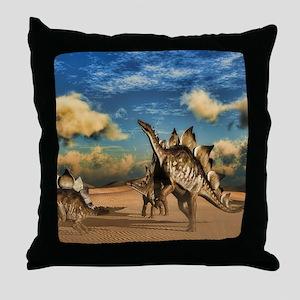 Stegosaurus dinosaur in the desert Throw Pillow