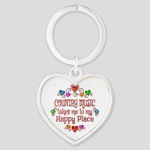 Country Happy Place Heart Keychain