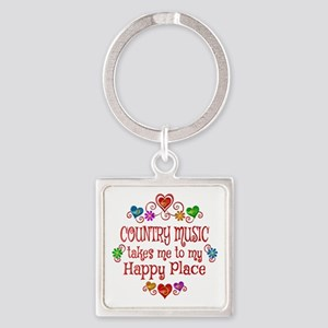 Country Happy Place Square Keychain