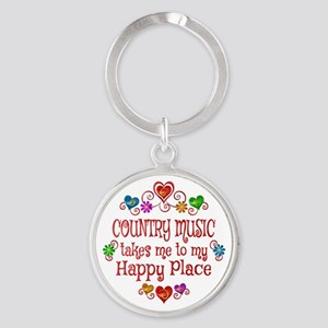 Country Happy Place Round Keychain