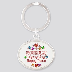 Country Happy Place Oval Keychain