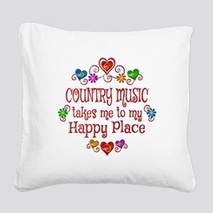 Country Happy Place Square Canvas Pillow