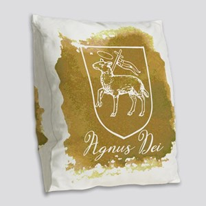 Agnus Dei Burlap Throw Pillow