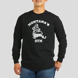 Montana's Snowmobile Gym Long Sleeve Dark T-Shirt