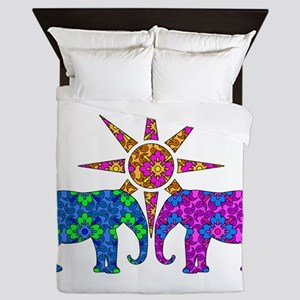 Colorful Elephants Queen Duvet