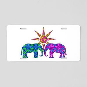 Colorful Elephants Aluminum License Plate