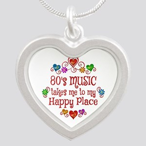80s Music Happy Place Silver Heart Necklace