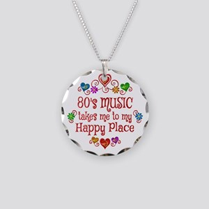 80s Music Happy Place Necklace Circle Charm