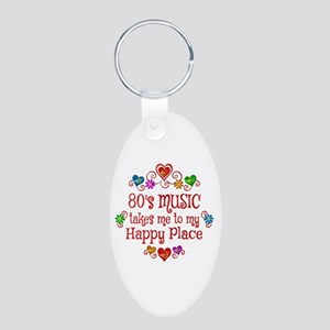 80s Music Happy Place Aluminum Oval Keychain