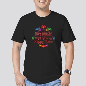 80s Music Happy Place Men's Fitted T-Shirt (dark)