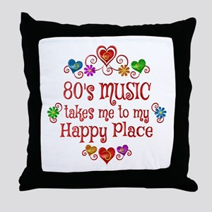 80s Music Happy Place Throw Pillow