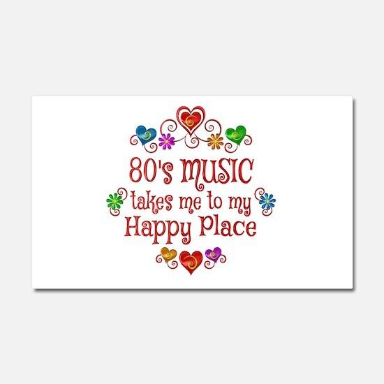 80s Music Happy Place Car Magnet 20 x 12