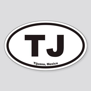TJ Tijuana Mexico Euro Oval Sticker