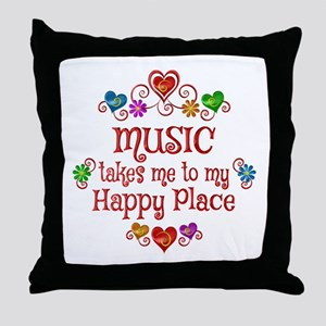 Music Happy Place Throw Pillow