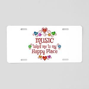 Music Happy Place Aluminum License Plate