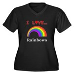 I Love Rainb Women's Plus Size V-Neck Dark T-Shirt
