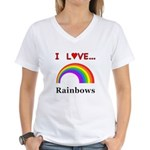 I Love Rainbows Women's V-Neck T-Shirt