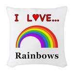 I Love Rainbows Woven Throw Pillow