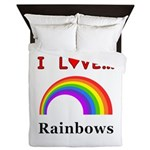 I Love Rainbows Queen Duvet