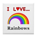 I Love Rainbows Tile Coaster