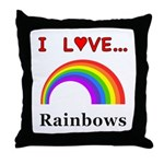 I Love Rainbows Throw Pillow