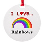 I Love Rainbows Round Ornament