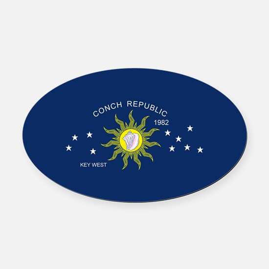 The Conch Republic Flag Oval Car Magnet