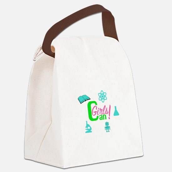 Unique Girly robot Canvas Lunch Bag