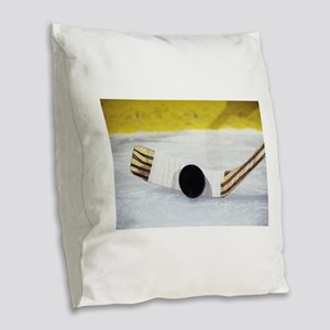 hockey Burlap Throw Pillow
