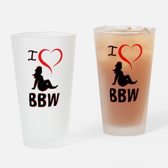 I Heart BBW Drinking Glass