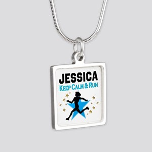 TRACK AND FIELD Silver Square Necklace