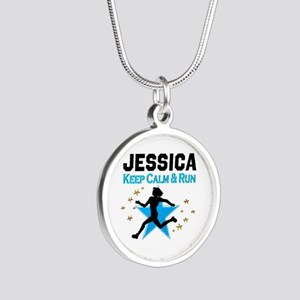 TRACK AND FIELD Silver Round Necklace
