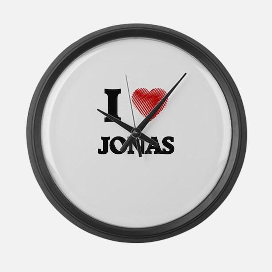 I love Jonas Large Wall Clock