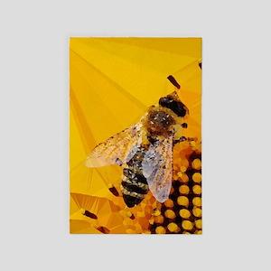 Honey Bee Sunflower Low Poly 4' X 6' Rug