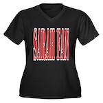 Sarah Fan Women's Plus Size V-Neck Dark T-Shirt