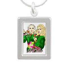 Green Goddesses - Silver Portrait Necklace