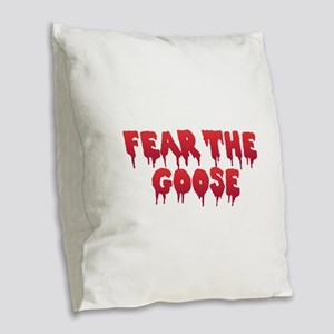Fear the Goose Burlap Throw Pillow