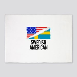 Swedish American Flag 5'x7'Area Rug