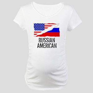 Russian American Flag Maternity T-Shirt
