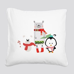 2 Bears and a Penguin in Wint Square Canvas Pillow