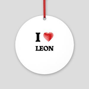 I love Leon Round Ornament
