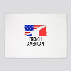 French American Flag 5'x7'Area Rug