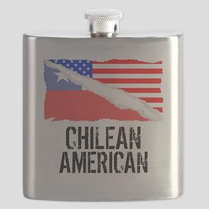 Chilean American Flag Flask