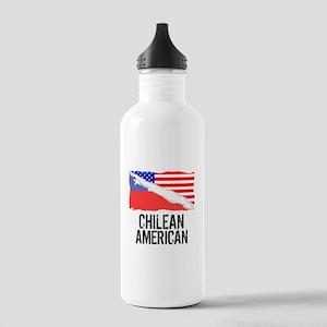 Chilean American Flag Water Bottle