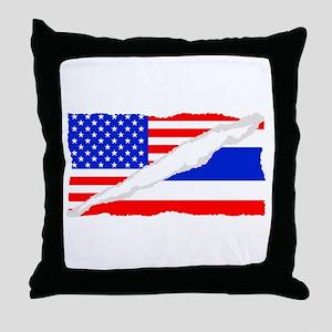 Thai American Flag Throw Pillow