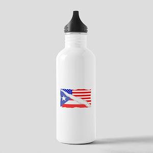 Puerto Rican American Flag Water Bottle