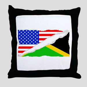 Jamaican American Flag Throw Pillow