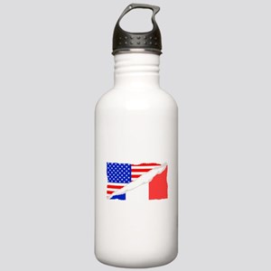 French American Flag Water Bottle