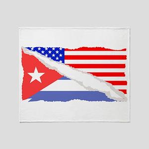 Cuban American Flag Throw Blanket